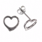 9ct White gold cut out heart shaped stud earrings